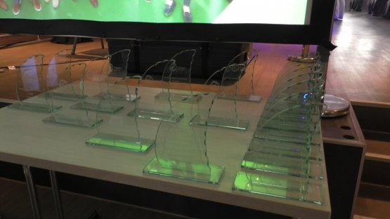 Trophies of the Ship for Health Innovation Pitches (SHIP)-Event 2018 by EIT Health Germany.